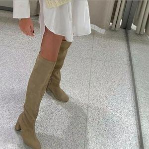 Zara Split leather mid heel boots